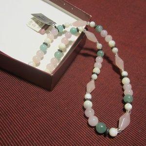 Women's Vintage Tri-Gemstone Necklace